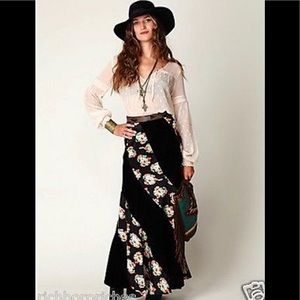 Free People Velvet and Silk maxi skirt